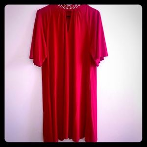 Michael Kors Red Dress with Gold Metal Circle Neck